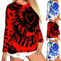 ❤️ Womens Tie Dye Long Sleeve Sweater Jumper Tops T-Shirt Casual Pullover Blouse