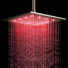 "Hot sale 12"" LED Light Color Changing Rain Shower Head Bathroom Chrome Finish"