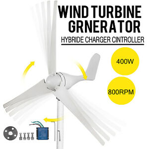 12V Wind Turbine Generator 400W Max Output 3 Blades with Wind Charge Controller