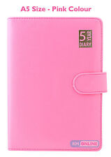 Pink A5 Size 5 Year Leather Bound Undated Open Diary WTV Soft Magnetic Lock