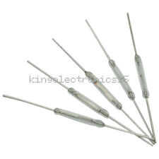 5pcs MKA-14103 Gold Tone Leads Glass N/O SPST Reed Switches 10-15AT 2 x 14mm F