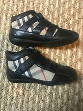 Burberry Youth Girls Black Leather Check Canvas Combination Ankle Booties Sz 3Y