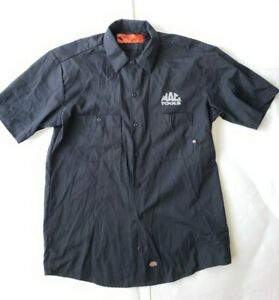 MAC TOOLS Button Up Garage Shirt By Dickies~Men's M~Black~Skull Silkscreened