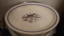 grand plat ovale boch la louviere emaux oiseau art nouveau