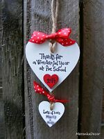 Thank you teacher gift - Nursery - Personalised Handmade Wooden Heart- Red polka