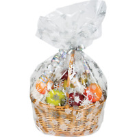 1 x CHRISTMAS SNOWFLAKES HAMPER BASKET Gift Cake CELLOPHANE DISPLAY BAG With Tie