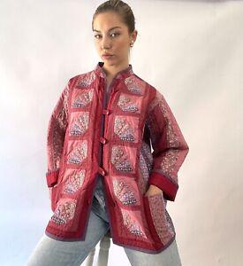 Vintage Handmade Patchwork Quilt Jacket Cotton Plain Inside Indian Boho
