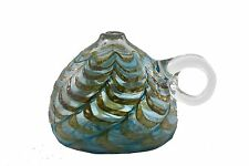 Glass Oil Lamp Hand Blown Artisan Signed Pale Blue Gold Feathered Design 3.5x3""