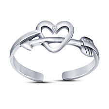 Toe Ring 14K White Gold Finish Round Diamond Forever Us Heart Arrow Adjustable