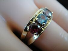 14k Yellow Gold & Multi Color Gemstone Round Design 3 Stone Band Ring sz 8.5
