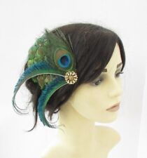 Green Gold Peacock Feather Fascinator Hair Clip Races Cocktail 1920s Gatsby 6163