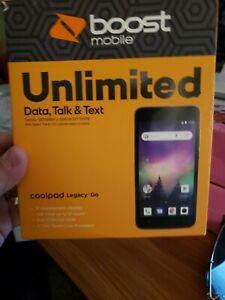 NEW  in box Coolpad Legacy Go - 8GB - Black (Boost Mobile) Smartphone A4