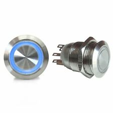 19mm Momentary Billet Button with LED Blue Ring AutoLoc AUTSW42B custom street