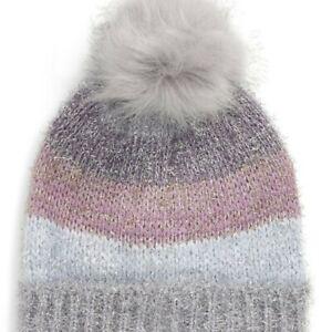 Tucker + Tate Girl Gray Pink Silver Metallic Stripe Beanie Faux Fur Pom One-Size