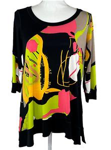Eva Varro Sz Medium Stretch Knit Tunic Top 3/4 Sleeve Black Pink Green
