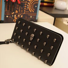 Fashion Punk Women's Skull Studded Long Purse Faux Leather Wallet Clutch Handbag
