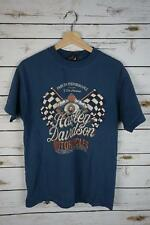 Harley-Davidson Iron Steed Vacaville CA Large Blue Graphic Short Sleeve Shirt