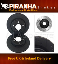 Saab 9-5 2.3t Aero 99-01 Front Brake Discs Piranha Black Dimpled Grooved