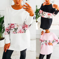 Women Long Sleeve Floral Patchwork Blouse T-shirt Sweatshirt Jumper Pullover Top