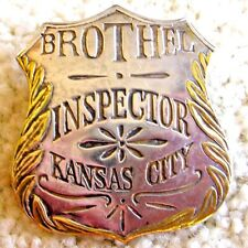 "Antique brothel inspector badge ""Kansas-City"", brass leaf edging"