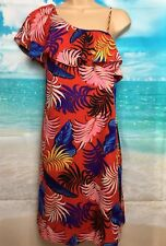 BNWT NEW LOOK 8 Tall Red Palm Print Frill One Shoulder Knee Length Dress