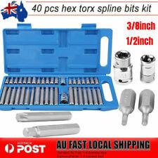 40Pcs Star Socket Set Torx Torq Torque Bits 1/2inch 3/8inch Drive Heavy Duty