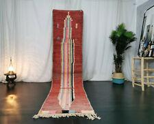 "Moroccan Handmade Vintage Boujaad Rug 2'4""x11' Red Abstract Nomad Berber Runner"