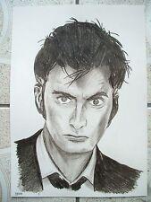 A4 Charcoal Sketch Drawing David Tennant