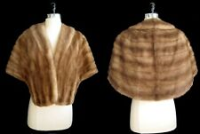 Brown MINK Fur Stole , Repair / Craft Cutter , Autumn Haze Pastel Fur Shawl Coat