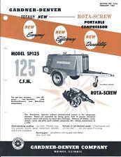 Equipment Brochure - Gardner-Denver - SP125 G D - Air Compressor - 1961 (E4270)