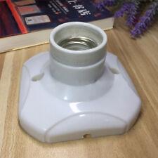 Straight Glazed Ceramic Heat Lamp Holder Base Light Bulb Socket E27 Porcelain