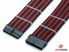 24pin ATX Mobo 30cm Black Red Sleeved PSU Extension Shakmods with 2 cable combs