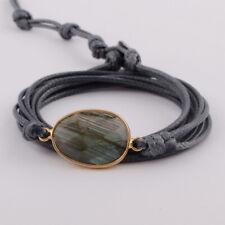Women Handmade 5 Rows Rope Wrap Gold Plated Natural Labradorite Stone Bracelet