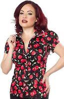 Sourpuss Cherry Pie Darling Top Rockabilly Button Punk Goth Tattoo Shirt S-Xxl