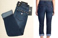 ROCK & REPUBLIC Cropped Capri KENDALL Jeans Blue Womens Cuffed Cotton 2 4