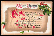 "1911 Tuck ""Hark the Herald Angels Sing"" Christmas Hymns music postcard"