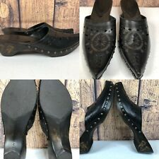 Womens MATISSE Black Eyelet Western Studded Mules Etched Heel Shoes SIZE 9 M