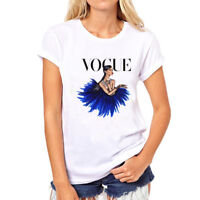 Women T-Shirt VOGUE Tshirt Fashion Short Sleeves Shirts Printed Cotton Shirt New