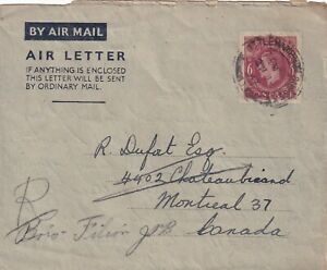 GREAT BRITAIN 1947 GEORGE VI AIR LETTER TO CANADA !! A24