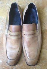 Kenneth Cole Reaction Ghost Town Leather Penny Loafer Flats, Brown Tan, 9.5 M