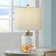 Nautical Table Lamp Clear Glass Sea Shells White for Living Room Bedroom