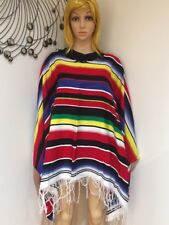 Rainbow  Mexican Poncho Wild West Cow Boy Adult Bandit Fancy Dress Up Costume