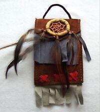 Brustbeutel braun 236 Halskette Dreamcatcher schwarz Leder Traumfänger necklace
