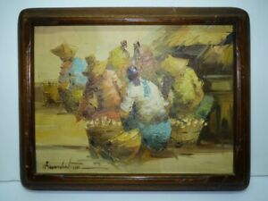 Filipino Alfredo Buenaventura Painting Oil /B, Women in the Market, 30 x 22.5 cm