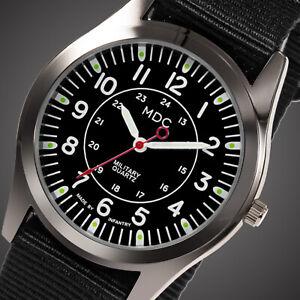 MDC Mens Quartz Analog Wrist Watch Sport Military Army Luminous Hands Nylon