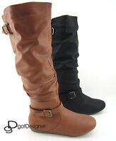 Women's Fashion Boots Shoe Knee High Causal Comfort Flat Heel Point Toe All Size
