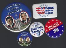 1988 MICHAEL DUKAKIS & L. BENTSEN POLITICAL CAMPAIGN BUTTON GROUP C
