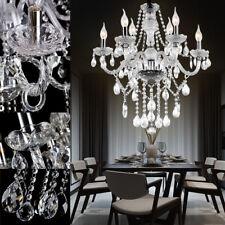 6 E14 Kristall Hängelampe Klar Pendellampe Hängeleuchte Kronleuchter Wohnzimmer