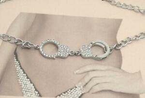 Handcuff Silver plated Belly Chain Cubic Zirconia Belt