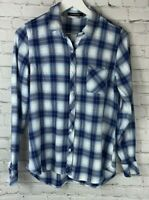 DYLAN JAMES Womens' Blue Plaid Long Sleeve Shirt Size Large